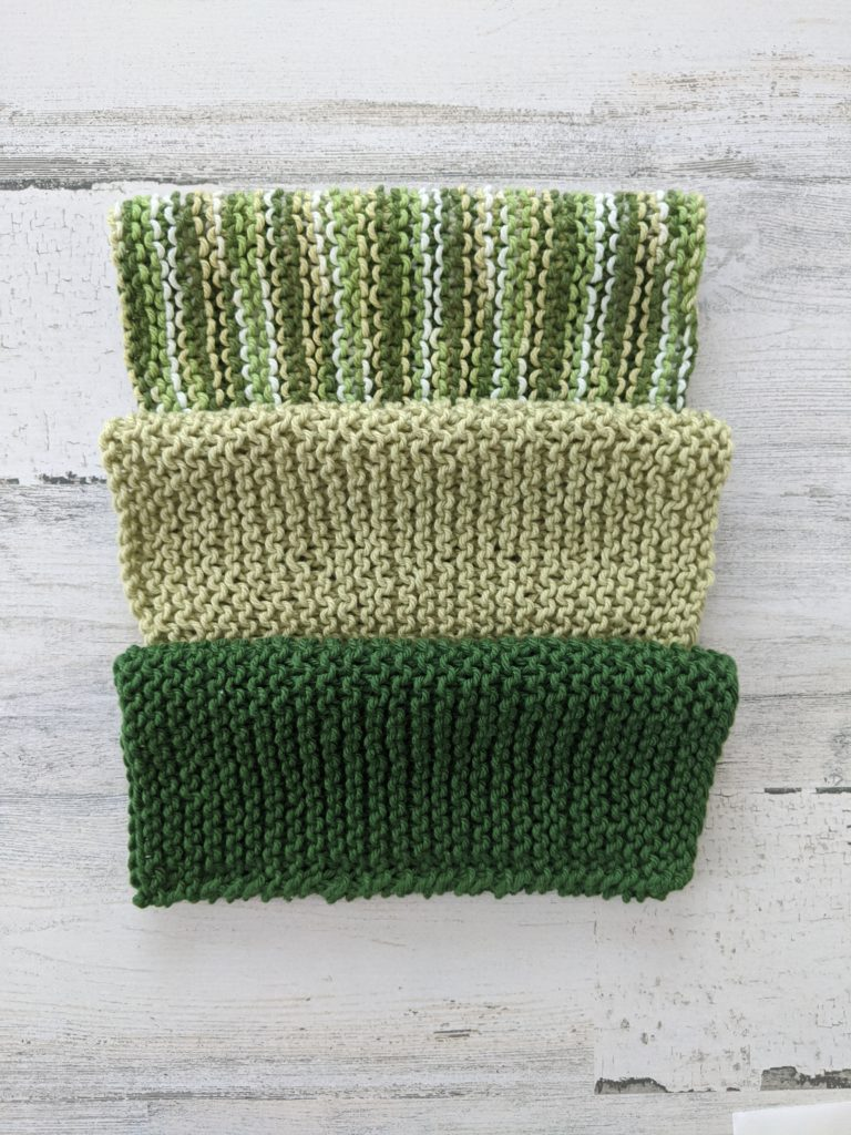 A set of handmade dishcloths, made by Girlnovember.