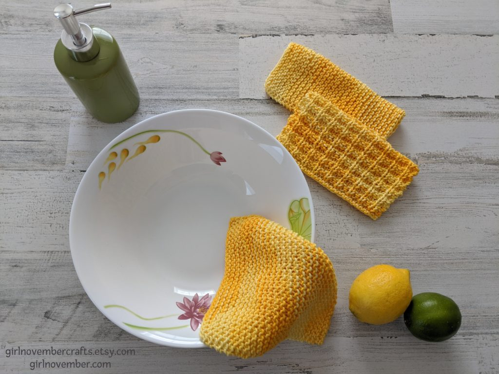 Girlnovember's Sunshine Yellow Dish Cloth Bundle - 3 dishcloths in a setting with a pretty bowl.