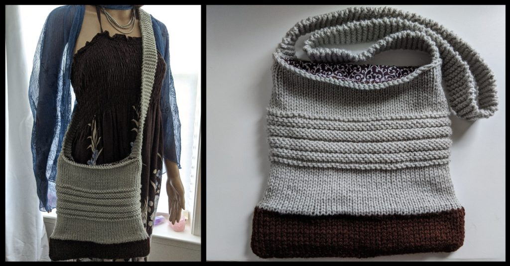A hand knit crossbody bag in tan and brown with a long strap.