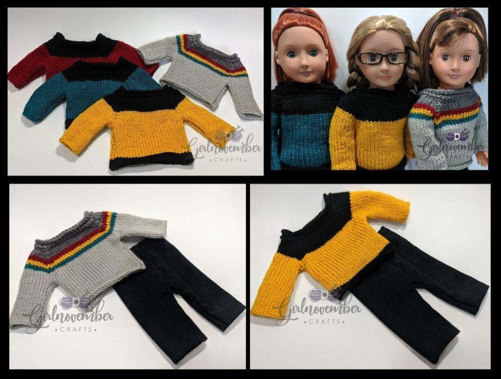 Star Trek Inspired Sweaters for 18 Inch Dolls