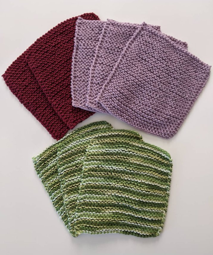 Washcloths in Pomegranate, Lilac Mist and Sea Turtle